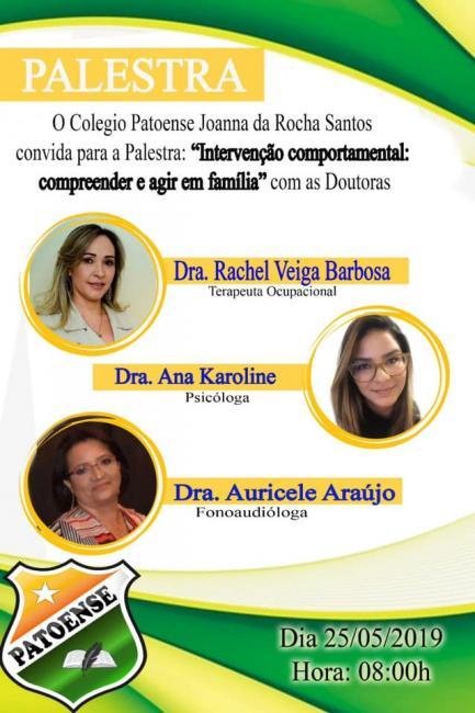 Colegio patoense realizará palestra neste sábado dia 25 de Maio
