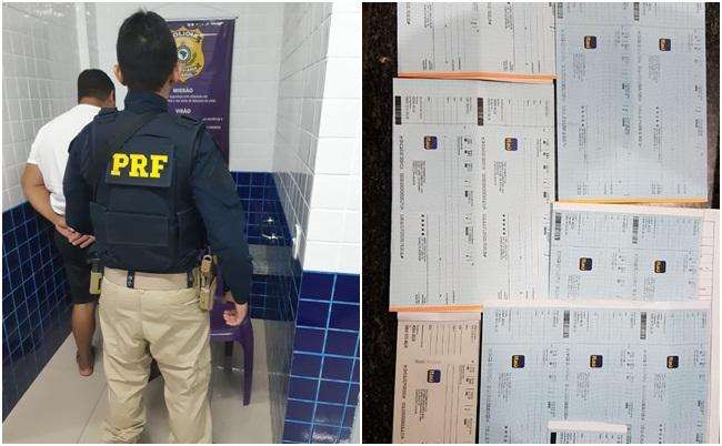 Homem é preso com vários cheques e cartões de crédito na BR-343