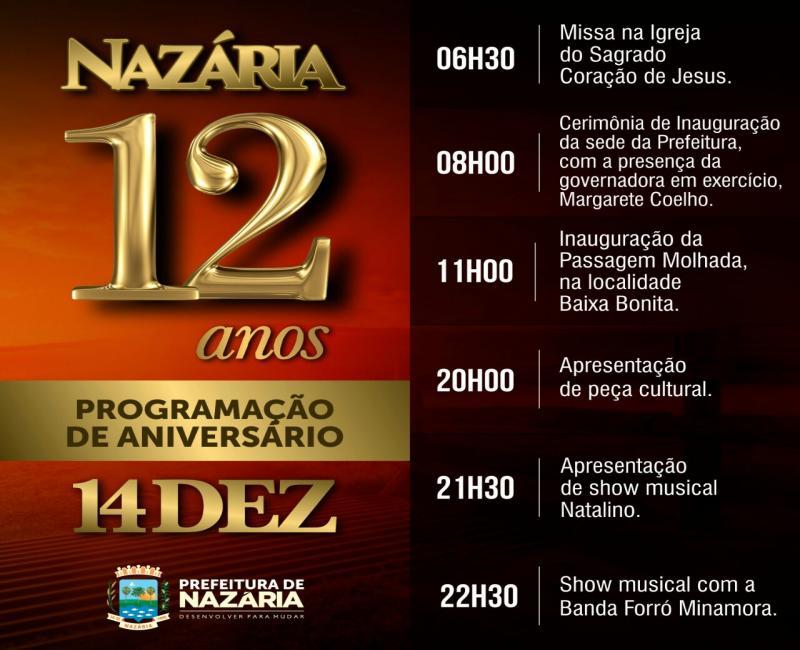 Prefeitura de Nazária divulga programação do aniversário da cidade