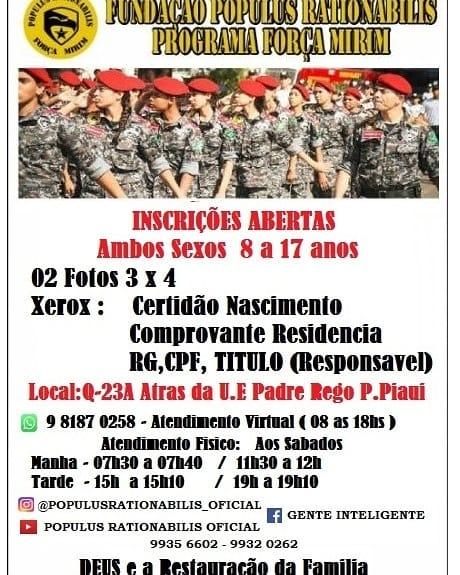 Banner Oficial Programa FORÇA MIRIM