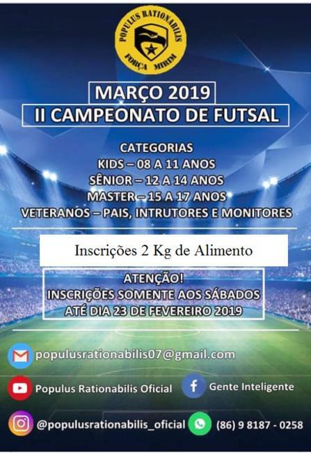 2º Campeonato de Futsal 2019 - Programa FORÇA MIRIM