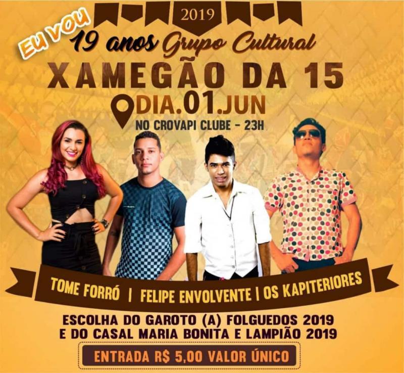 Festa de 19 anos de grupo cultural Xamegão da 15 acontece neste sábado (1)
