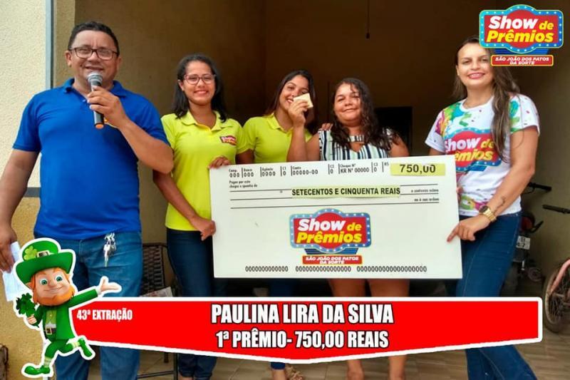 Ganhadores da 43º extração do show de prêmios São João dos Patos da sorte