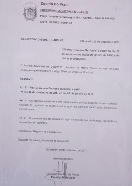 Prefeitura de Gilbués decreta recesso administrativo