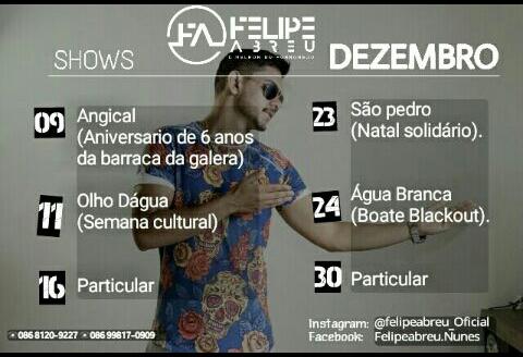 Felipe Abreu e Banda faz hoje (11) a animação do segundo dia da semana cultural de Olho D'água