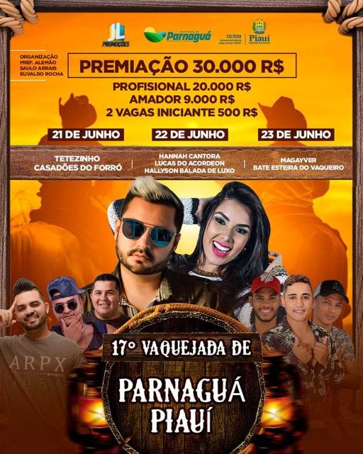 XVII Grande Vaquejada de Parnaguá oferece R$ 30 mil em premiação