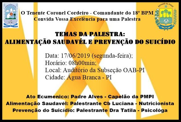 Subseção da OAB sediará palestra sobre alimentação e prevenção ao suicídio