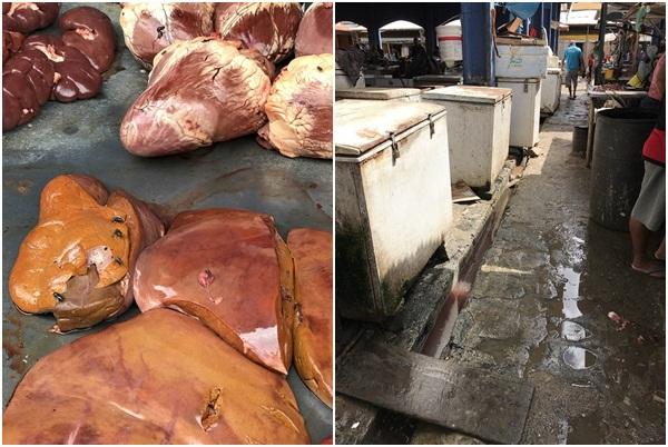 Fiscais flagram sujeira e moscas em carnes em mercado público no PI