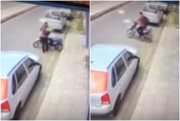 Câmera flagra bandido furtando moto em Piripiri; veja!