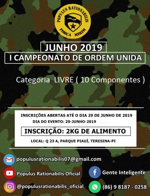 1º Campeonato de ORDEM UNIDA 2019 (Fundação POPULUS RATIONABILIS)