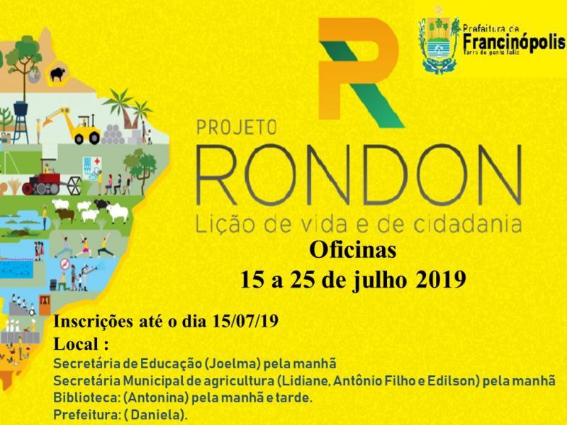 Inscrições para Projeto Rondon em Francinópolis