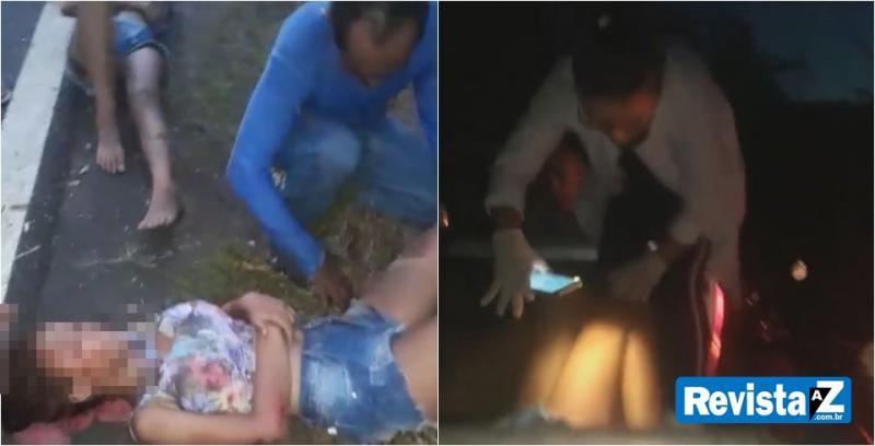 Duas pessoas ficam feridas após carro bater em moto na BR 222