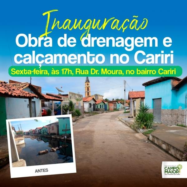 Prefeitura de Campo Maior entregará obras no Bairro Cariri nesta sexta