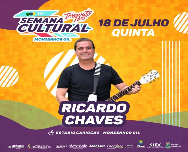 Ricardo Chaves é atração confirmada na 19ª Semana Cultural
