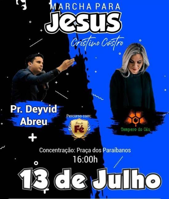 A II Marcha para Jesus acontecerá nesse sábado dia 13 de julho