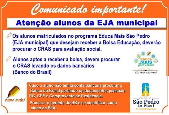 Comunicado à alunos matriculados no Educa Mais São Pedro do Piauí