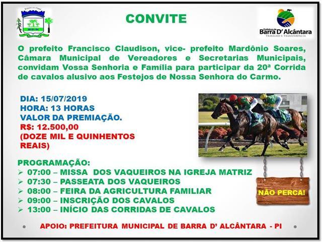 2ª Feira da Agricultura e Corrida de Cavalos dia 15  em Barra D'Alcântara