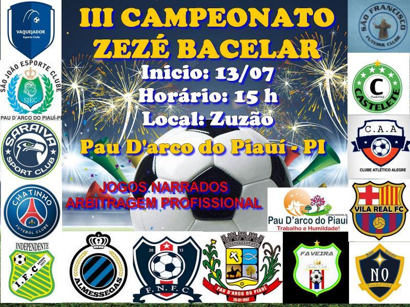 III Campeonato Zezé Bacelar inicia no sábado em Pau D'arco do PI