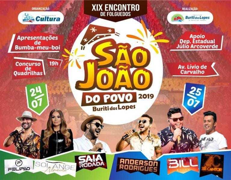 Buriti dos Lopes divulga atrações musicais do São João do Povo 2019