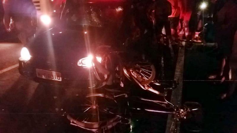 Carro atropela grupo de ciclistas na BR-343 em Buriti dos Lopes
