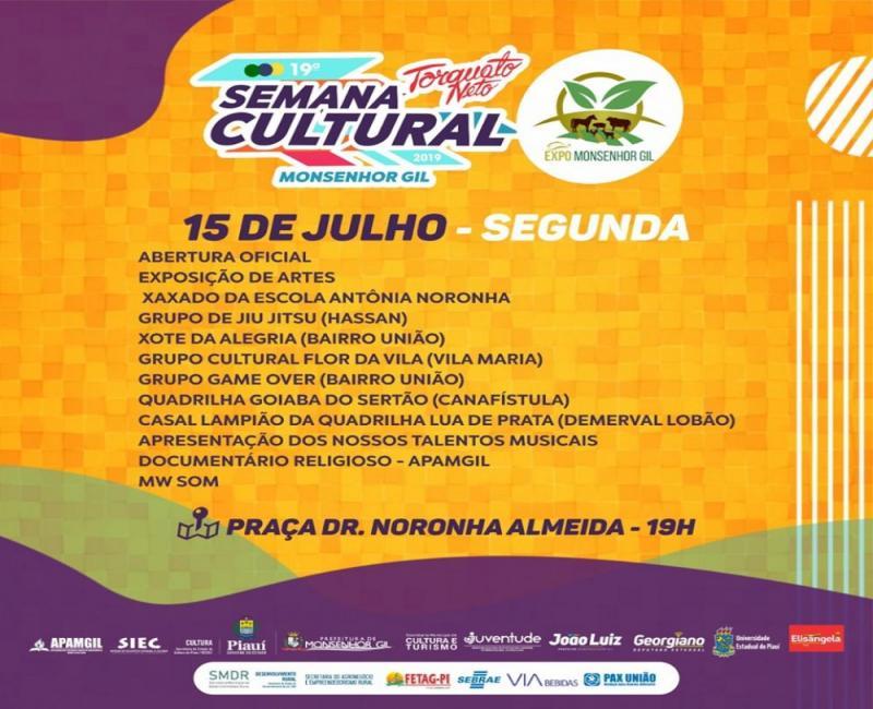 19ª Semana Cultural começa nesta segunda em Monsenhor Gil