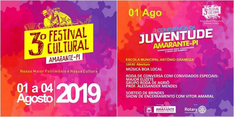 Festival Cultural de Amarante iniciará no dia 01 de agosto