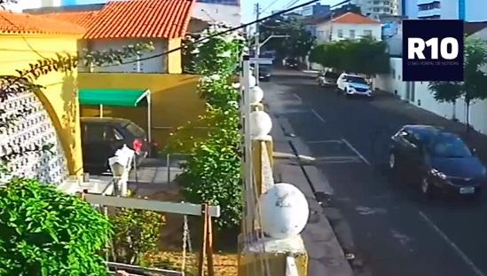 Vídeo mostra veículo dando fuga a suspeito de atirar em estudante