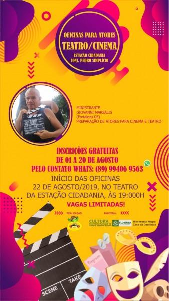 Inscrições abertas para a Oficina de Cinema e Teatro em Floriano