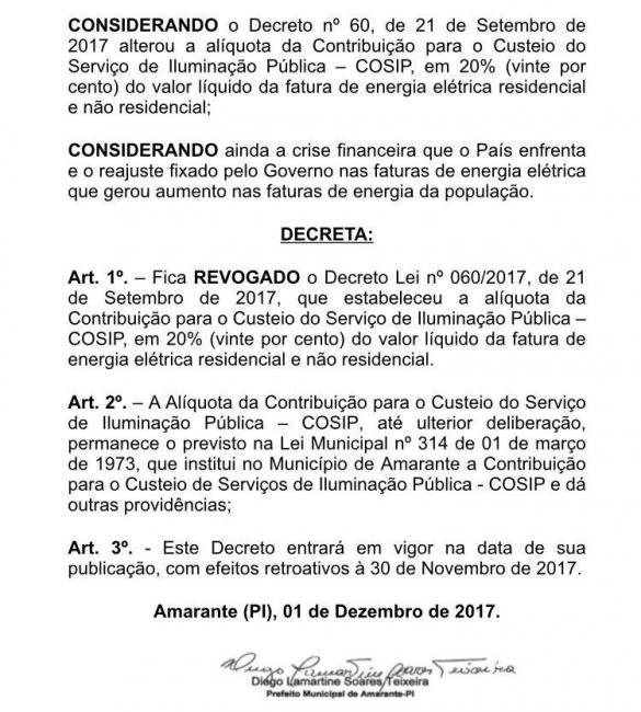 Prefeito Diego Teixeira revoga decreto de aumento de iluminação pública em Amarante