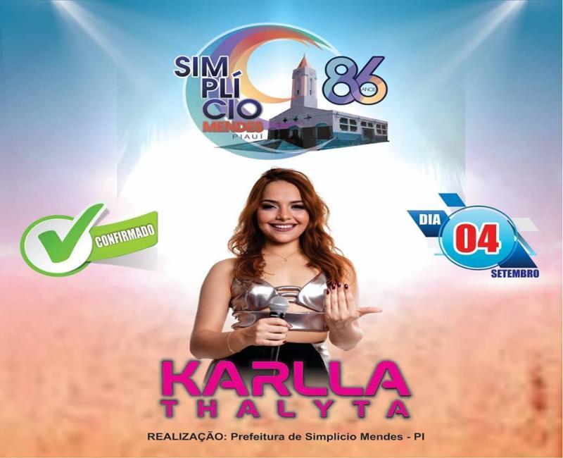 Confirmada a vinda de Karlla Thalyta para aniversário de Simplício Mendes