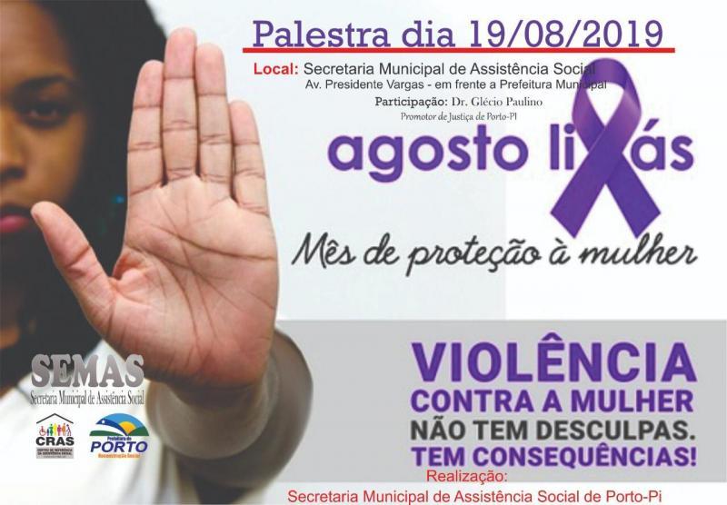 Em Porto, SEMAS realizará palestra sobre a violência contra a mulher