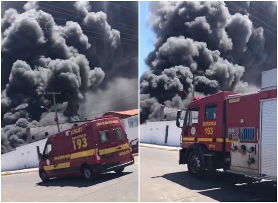 Bombeiros mantém trabalho para controlar incêndio em fábrica