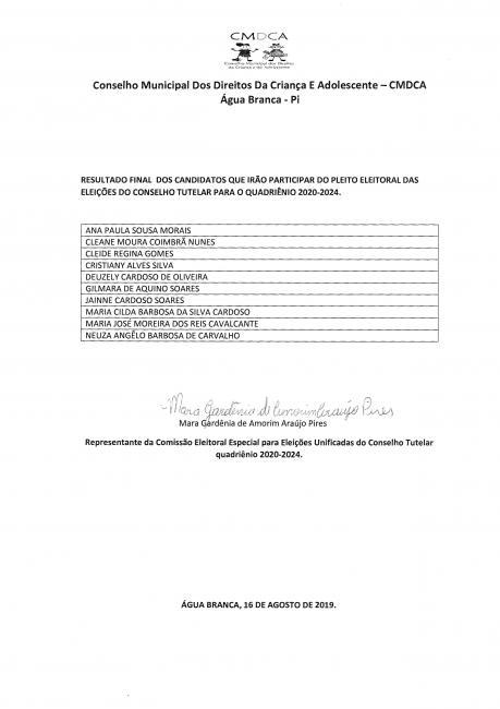 Água Branca: Lista dos candidatos que poderão concorrer ao Conselho Tutelar