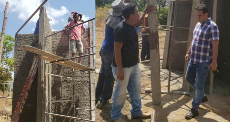 Prefeito de Amarante vistoria construção de obra em ritmo acelerado
