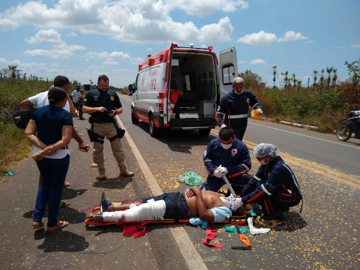 Homem fica gravemente ferido após ser atropelado na BR-343 em Campo Maior