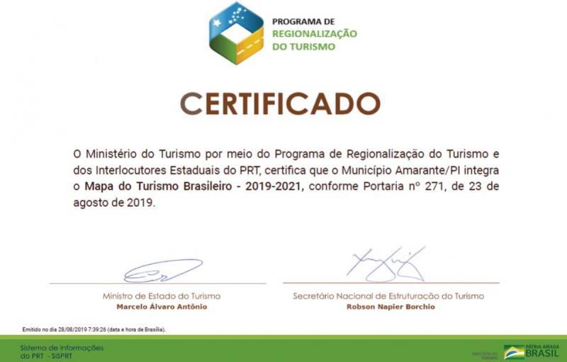 Amarante recebe certificado de Ministério por integrar Mapa do Turismo