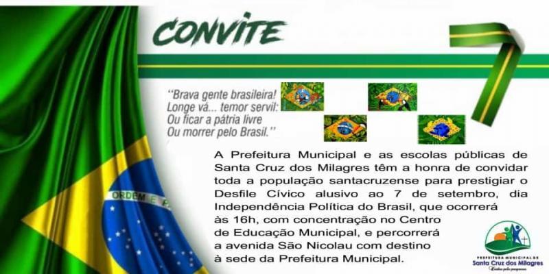 Prefeitura de Santa Cruz dos Milagres realizará Desfile Cívico