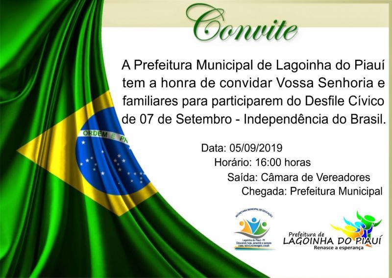 Desfile da Independência acontecerá dia 05 em Lagoinha do Piauí