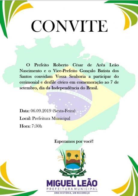 Miguel Leão: Prefeito convida população para Desfile Cívico nesta sexta