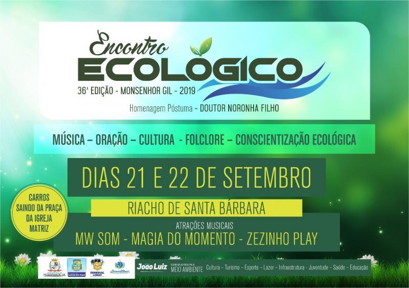 Monsenhor Gil sediará 36º edição do Encontro Ecológico