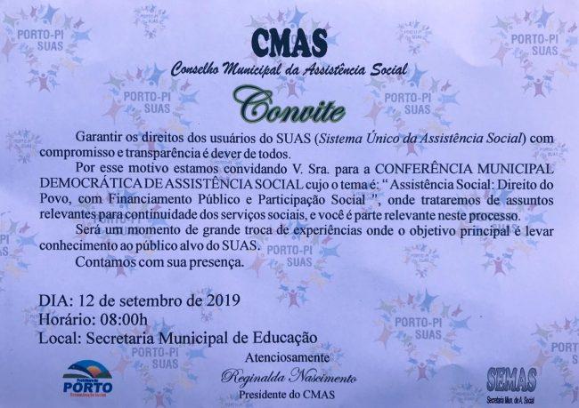 CMAS de Porto realizará Conferência Municipal de Assistência Social