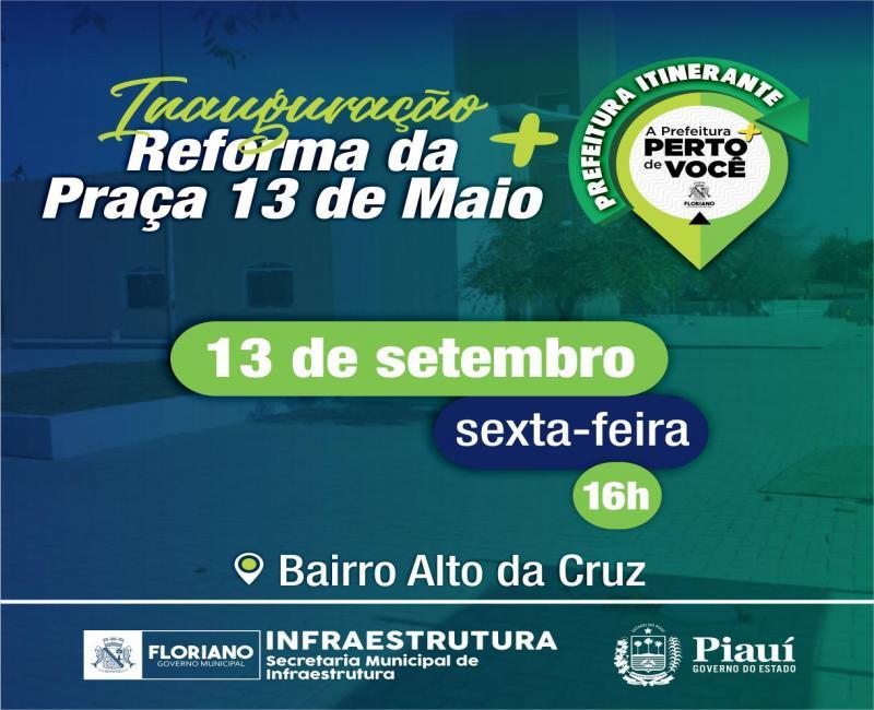 Inauguração da Praça do Alto da Cruz contará com Prefeitura Itinerante
