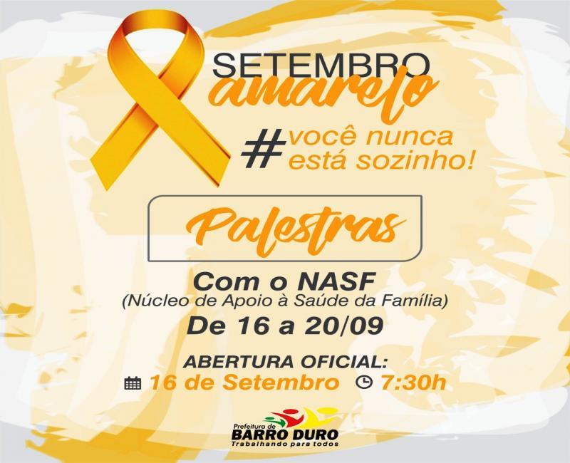 Barro Duro terá caminhada e palestras sobre o Setembro Amarelo