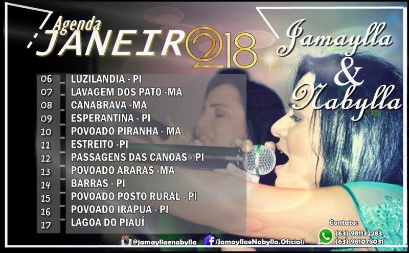 Confira a agenda de shows da dupla Jamaylla e Nábylla Janeiro 2018