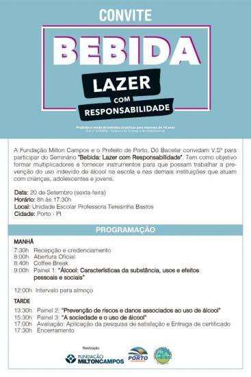"""Porto terá seminário com temática """"Bebida: lazer com responsabilidade"""""""
