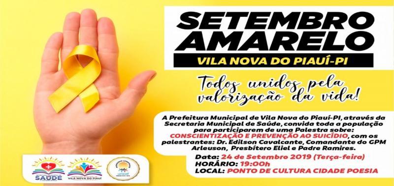 VILA NOVA | Saúde realizará palestra alusiva ao Setembro Amarelo