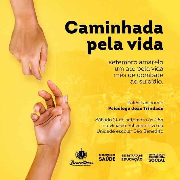 SEMAS/BENEDITINOS realizará Movimento Setembro Amarelo dia 21/9