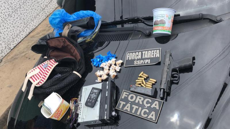 Força Tarefa apreende drogas e pistola da PM na zona sul de Teresina