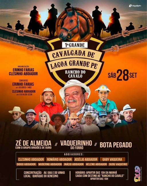 I Grande Cavalgada de Lagoa Grande-PE será sábado dia 28 setembro