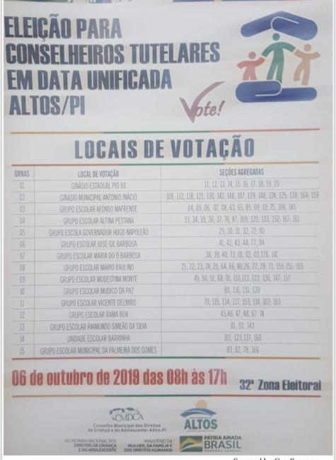 Altos | Confira os locais para votação dos conselheiros tutelares